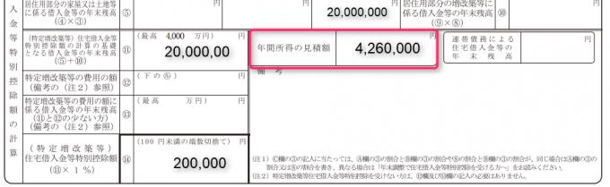 住宅 借入金 等 特別 控除 申告 書 年間 所得 の 見積 額
